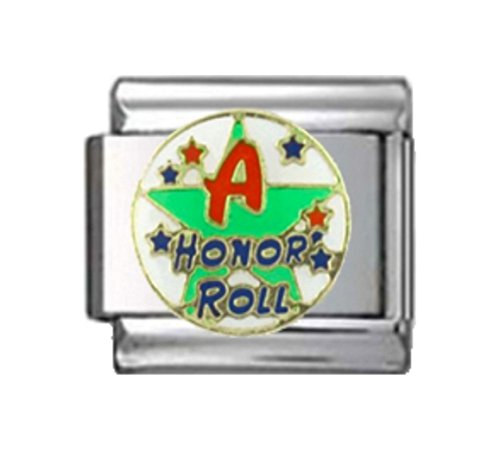 (Stylysh Charms A Student Honor ROLL Green Enamel Italian 9mm Link NC240)