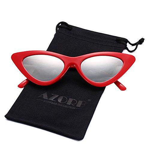 AZORB Retro Vintage Cateye Sunglasses for Women Plastic Frame Colored Lens (Red/Silver - Cheap Sunglasses Cateye