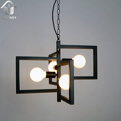 UNITARY BRAND Black Vintage Barn Metal Hanging Ceiling Pendant Light Max. 160W With 4 Lights Painted Finish
