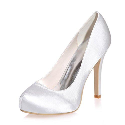 L@YC Damen High Heels Seiden Closure / Party / Party Nacht & mehr Farben 6915-03a White