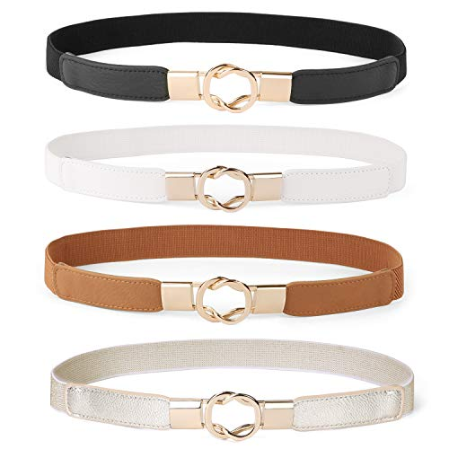 WERFORU Women Skinny Belt for Dresses Retro Stretch Ladies Waist Belt Plus Size Set of 4 (Fits Waist 33
