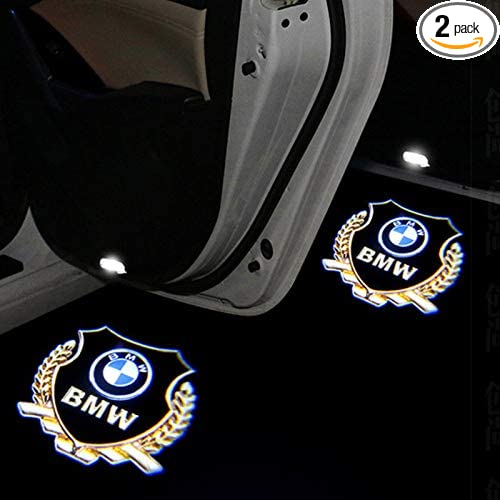 2X LED Gold Door Light Logo Projector Welcome Light For BMW