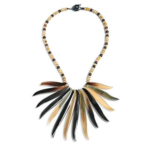 Bling Jewelry Natural Organic Buffalo Horn Tribal Boho Fashion Tweak Wood Beads Fan Bib Statement Necklace for Woman for Teen ()
