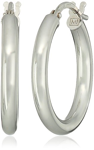 14k White Gold Polished Hoop (14k White Gold Italian 2.5mm High Polished White Hoop Earrings)