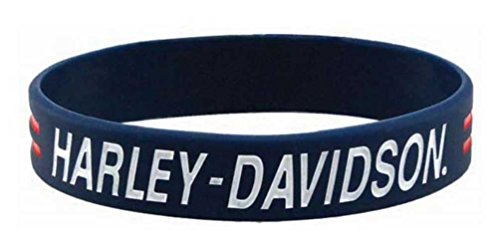 Harley-Davidson Debossed H-D Script Silicone Wristband, Blue w/Ink Fill WB51684