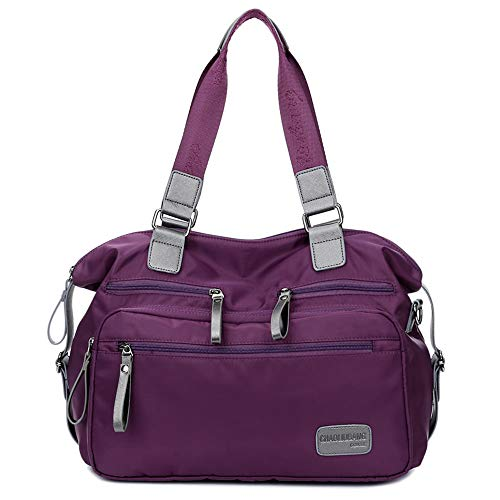 Waterproof Nylon Shoulder Bag Travel Work Tote Bag (A purple)