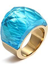 Stainless Steel Ring Super Sized Crystal for Promise Engagement Wedding,Multicolor Option,Gold