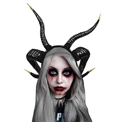 Scary Sheep Mask (Halloween Unisex Headband Devil Horns Headband Costume Party Cosplay Headpiece Accessories Gothic Antelope Sheep Horn Hoop)
