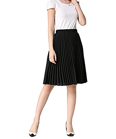 YUNSHANG Simple Retro Dancing Skirt Women's High Waisted Knee Length A line Chiffon Pleated Midi (Midi Skirt Black)