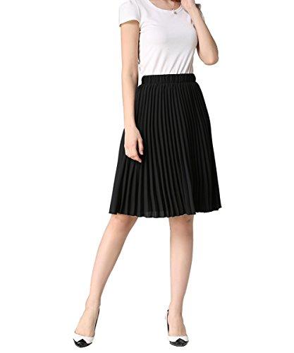 YUNSHANG Simple Retro Dancing Skirt Women's High Waisted Knee Length A line Chiffon Pleated Midi Skirt(Black) from YUNSHANG
