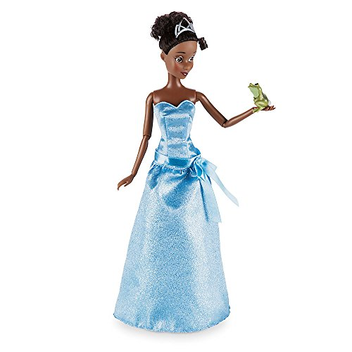 Deluxe Sparkle Tiana Princess Costumes (Disney Tiana Classic Doll with Naveen as Frog Figure - 12 Inch)