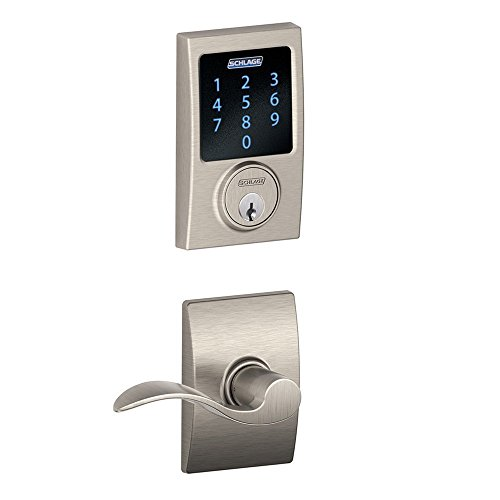 Schlage Connect Century Touchscreen Deadbolt with Built-In Alarm and Accent Passage Lever , Satin Nickel, FBE469NX ACC 619 CEN