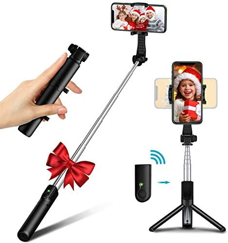 Bcway Selfie Stick Tripod Bluetooth, Mini Compact Phone Tripod, Lightweight Travel Tripod with Remote, Compatible with iPhone 12 Pro Max/11 Pro Max/11 Pro/11/XS/XS Max/XR, Galaxy Note 20/S20 and More