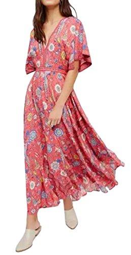 R.Vivimos Women Summer Print Deep V Neck Cotton Beach Long Dresses Large
