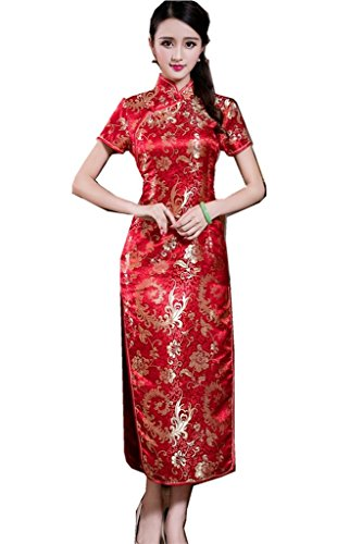 Shanghai Story Short Sleeve Long Qipao Chinese Cheongsam Dress Red 8