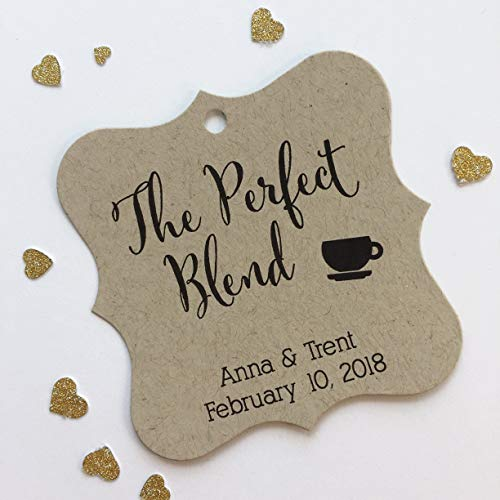 Coffee Favors Blend Perfect Wedding - The Perfect Blend Kraft Favor Tags, Coffee Cup Wedding Favor Tags, Wedding Hang Tags (FS-097-KR)