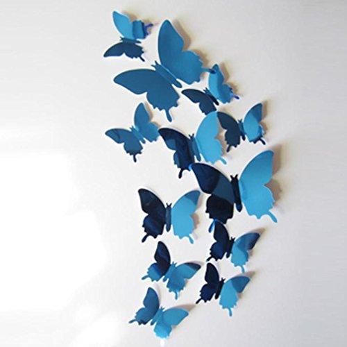 Clearance! Leyorie Butterflies Wall Stickers Decal 3D Mirror Wall Art Bedroom Living Room Home Decor (Blue)
