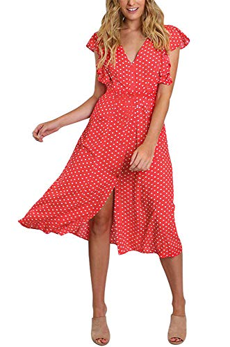 Cap Sleeve Polka Dot Dress - Daxvens Womens Polka Dot Dresses with Pockets, Boho Button Up Ruffle Sleeve V-Neck A-Line Swing Midi Dress Red
