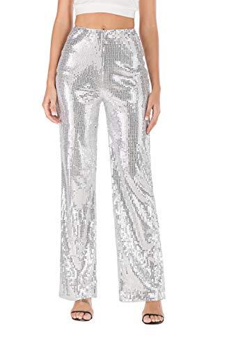 Ohvera Women's Glitter Sequin High Waist Long Wide Leg Palazzo Pants Trousers Silver Medium ()