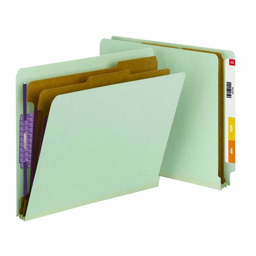 Smead End Tab Classification File Folders with SafeSHIELD Fasteners, Letter Size, Straight Cut, 2 Dividers, Gray/Green, 10 Per Box (26810)