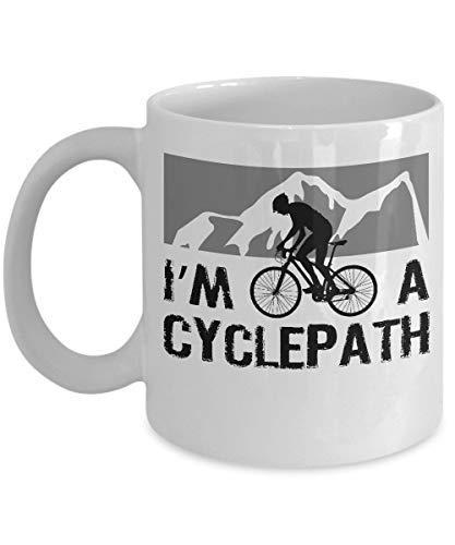 Mountain Bike Mug I'm a Cyclepath Funny Biking Quote Cycling Coffee Cup Unique Coffee Mug Funny 11oz Sarcasm Mug Cup Present for Girls Boys