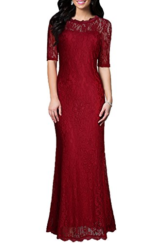 WOOSEA Women's Retro Floral Lace half sleeve Wedding Bridesmaid Long Dress (X-Small, Burgundy)
