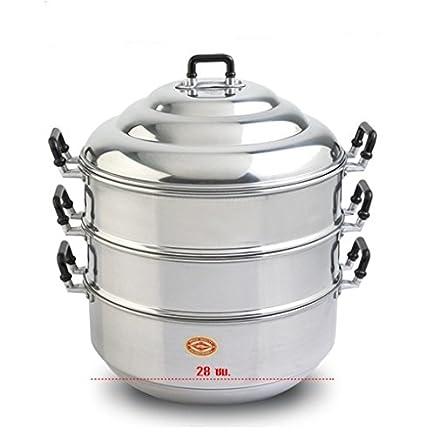 Amazon com: 28 cm Aluminium Steamer cookware Thai pot vegetable