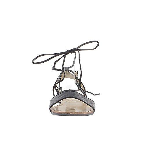Barfuß metallisch schwarze Frau Talonette 2cm mit Schnürung