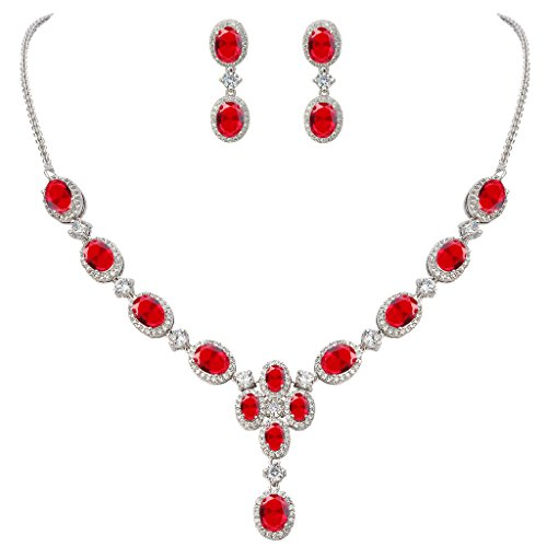 EVER FAITH Women's Oval CZ Gorgeous Floral Teardrop Bridal Pendant Necklace Earrings Set Red Silver-Tone