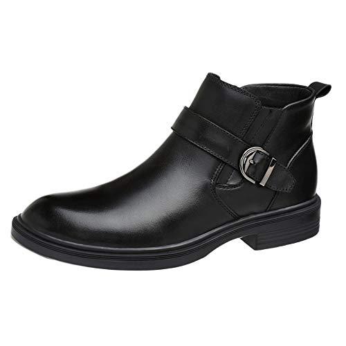 Stivali Uomo Martin per Adulti Stivali per Adulti Stivali di Sicurezza Classici Stivali Alti in Pelle di Pelle Vera Autunno,Black-Cotton-45
