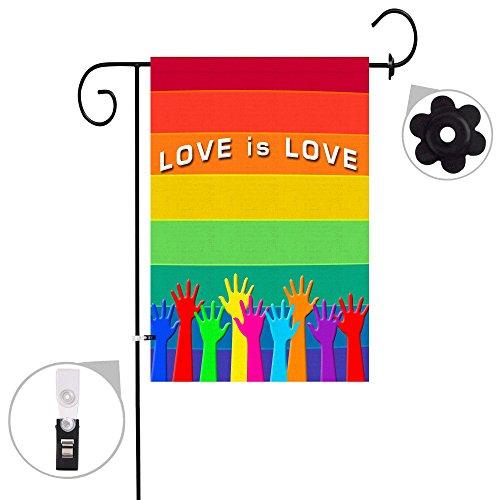 Bonsai Tree Gay Pride Rainbow Seasonal Burlap Garden Flag Banner Decorative Outdoor Double Sided Yard Flag 12 x 18 Prime