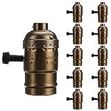 Motent Industrial Bronze Aluminium Shell Retro Pendant Light Lamp Holder with Switch for E26 Edison Screw Bulbs - 10pcs / Lot