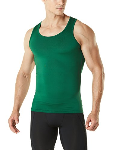 TSLA TM-MUN04-GRN_Medium Men's Sleeveless Muscle Tank Top Cool Dry Compression Baselayer MUN04 ()