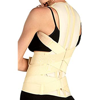 DELUXE POSTURE CORRECTOR, Lumbar Support Belt, Round Shoulder and Scoliosis Back Brace with Stiff Inserts (Large)