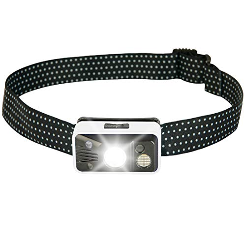USB Rechargeable Headlamp with Sensor Switch, 4 LED 6 Modes Water Resistant Head Flashlight with Adjustable Headband for Adults and Kids, Lightweight Headlight for Camping, Hiking, Outdoors (White)