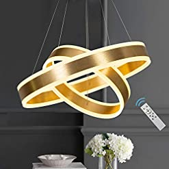 Interior Lighting Modern Chandelier Led Contemporary Light Fixture, 2-Ring Circular LED Hanging Pendant Light Fixture with Remote Control… modern ceiling light fixtures