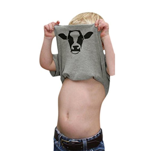 Little Moo Cow (Little Girls Boys Summer Clothes Cow Inside Letter Soft Tops Cute T-Shirt (Gray, 3T))