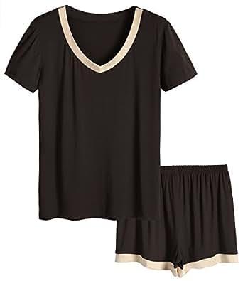 Latuza Women's V-Neck Sleepwear Short Sleeve Pajama Set S Chocolate