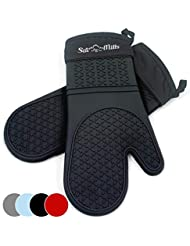 Black Silicone Oven Hot Mitts - 1 Pair of Extra Long Professional Heat Resistant Pot Holder & Baking Gloves - Food Safe, BPA Free FDA Approved With Soft Inner Lining