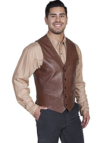 - Scully Men's Lambskin Leather Western Vest Chocolate 40 R