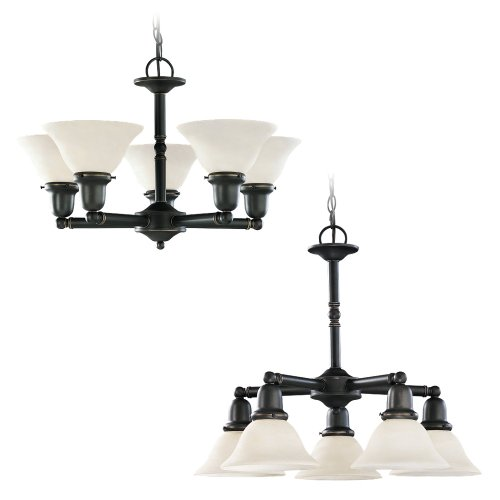 782 Sussex Single Light - Sea Gull Lighting 39062BLE-782 Five-Light Fluorescent Sussex Chandelier, Heirloom Bronze Finish with Satin Etched Glass Shades