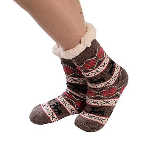 XOWRTE Women's Cotton Christmas Thicker Anti-slip Floor Socks Carpet Socks -