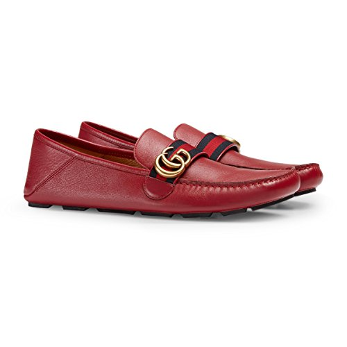 Gucci Mens Leather - Gucci Men's Noel Leather Web Loafer, Red (Rosso) (11.5 US/11 UK)