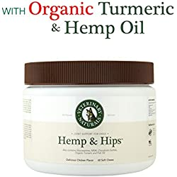 Veterinary Naturals 'Hemp & Hips' - Best Hip & Joint Supplement for Dogs with Glucosamine, MSM, Chondroitin, Organic Turmeric, Vitamin E, Fish & Hemp Oil for Pain, Mobility & Inflammation (Chicken)