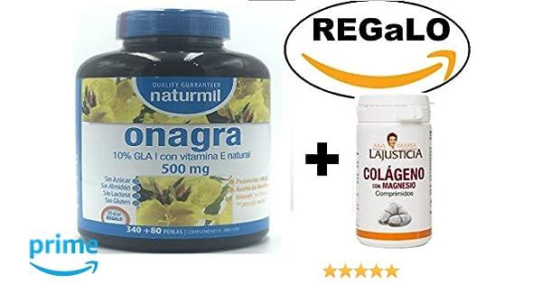 Aceite de Onagra 450 perlas de 510 mg de Obire + Vitamina E, de regalo un colágeno de Ana Maria la Justicia 75 comprimidos Mejora la salud del corazón, ...