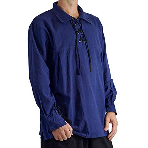 Medieval Mercenary Adult Costumes (KASST Men's Renaissance Shirts Medieval Pirate Lace Up Stand Collar Wide Cuff Costume Shirt Tops (XXL, Blue))