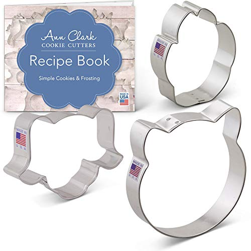 Pet Faces Set Cookie Cutter Set with Recipe Booklet - 3 piece - Cat Face, Dog Face and Paw Print - Ann Clark - USA Made Steel ()
