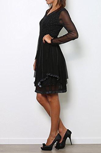 schwarz Damen schwarz Kleid Fantasie Cicero xnw4Azq8Iw
