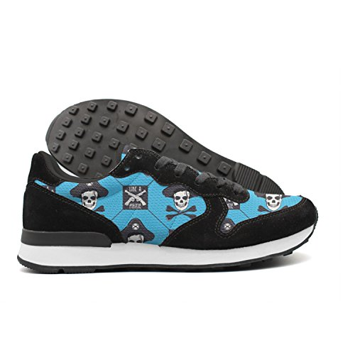Hoohle Pirate Skull And Old Pistols Women Cute Internationalist Leather Mid Suede Trainers (Bandana Pirate Suede)