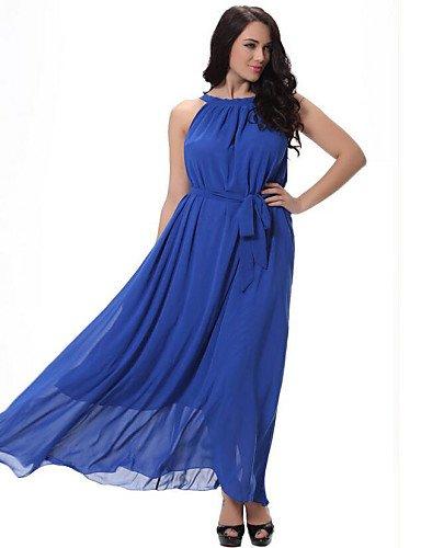 PU&PU Robe Aux femmes Grandes Tailles Grandes Tailles / Plage , Couleur Pleine A Bretelles Midi Spandex , navy blue-l , navy blue-l